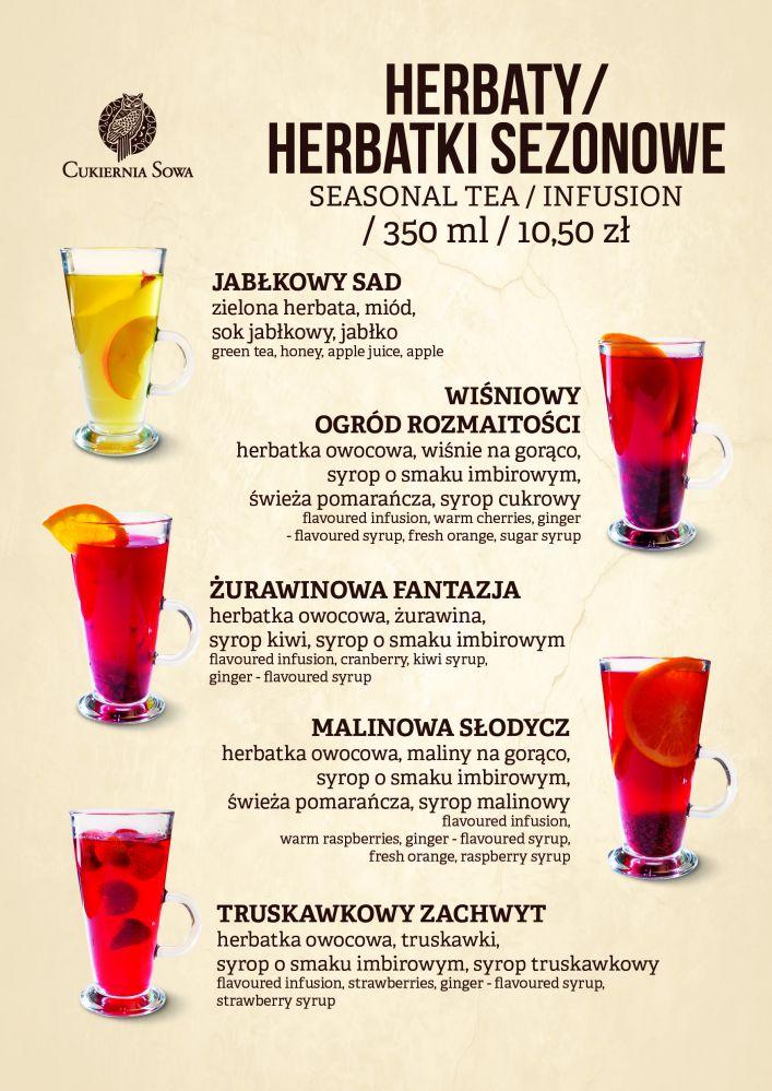 Wkładka napoje jesienne restauracja Sowa Bydgoszcz